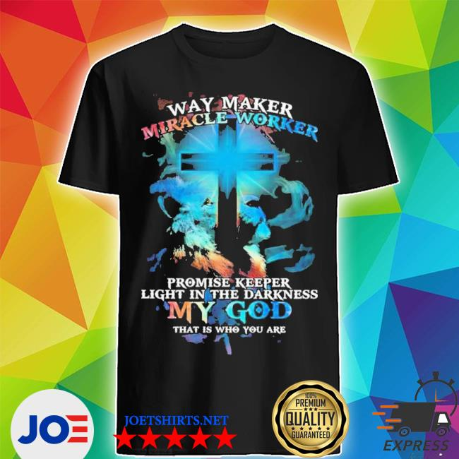 Lion cross light colorful way maker miracle worker promise keeper light in the darkness my god print on back s Shirt