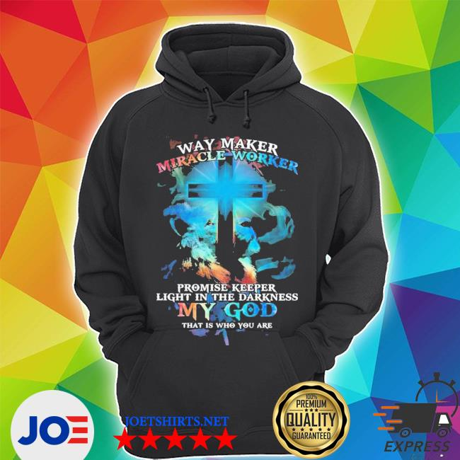 Lion cross light colorful way maker miracle worker promise keeper light in the darkness my god print on back shirt