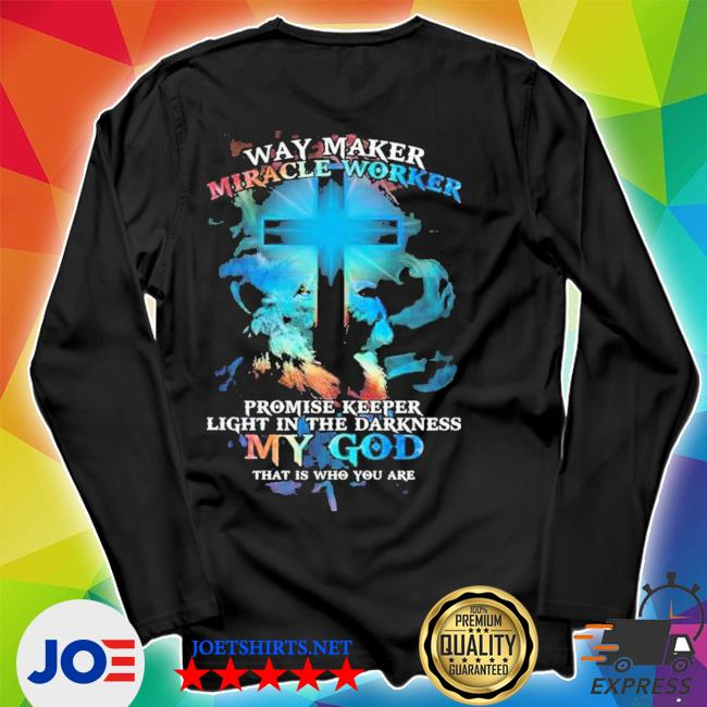 Lion cross light colorful way maker miracle worker promise keeper light in the darkness my god print on back s Unisex Long Sleeve Tee