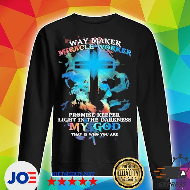 Lion cross light colorful way maker miracle worker promise keeper light in the darkness my god print on back s Unisex Sweater