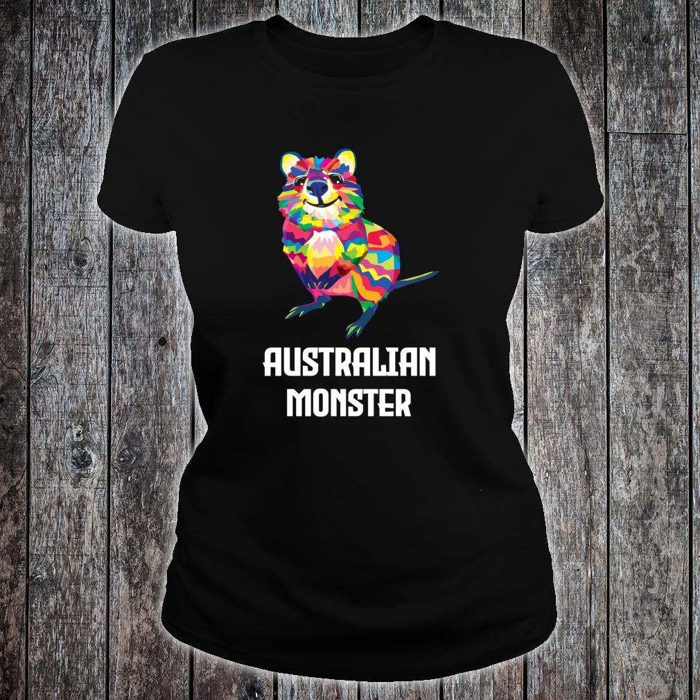 Australian Monster Quokka Marsupial Geometric Happy Animal Shirt ladies tee