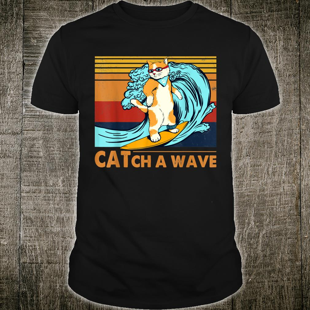 Cat Surfing Catch A Wave Kitten Surf Retro Vintage Shirt