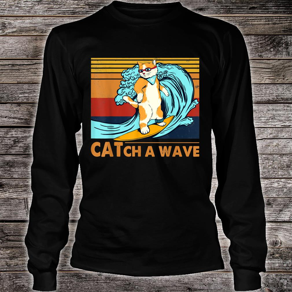 Cat Surfing Catch A Wave Kitten Surf Retro Vintage Shirt long sleeved