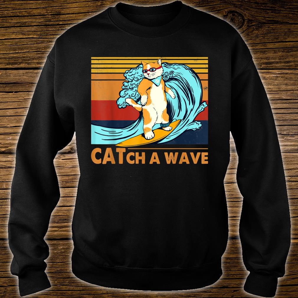 Cat Surfing Catch A Wave Kitten Surf Retro Vintage Shirt sweater