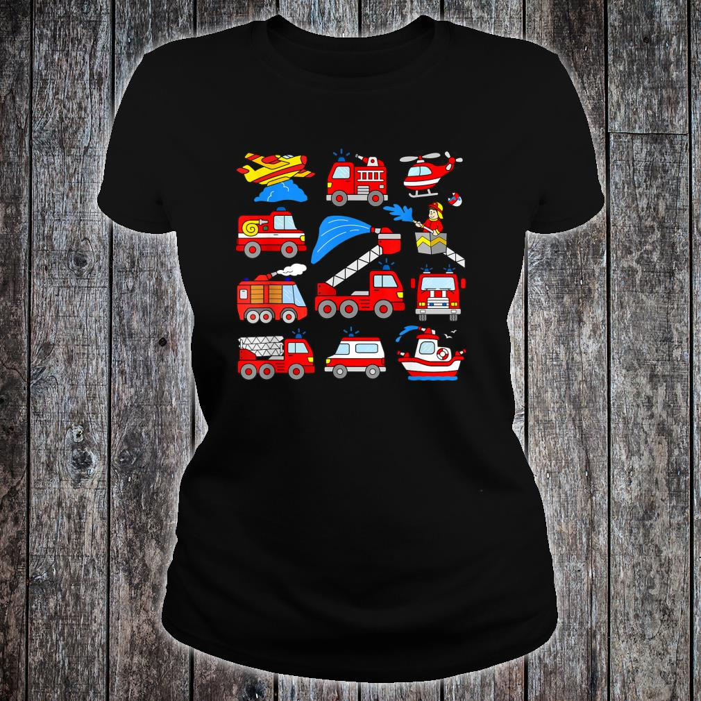 Firetrucks Toddler Rescue Vehicles Fireman Trucks Boat Plane Shirt ladies tee