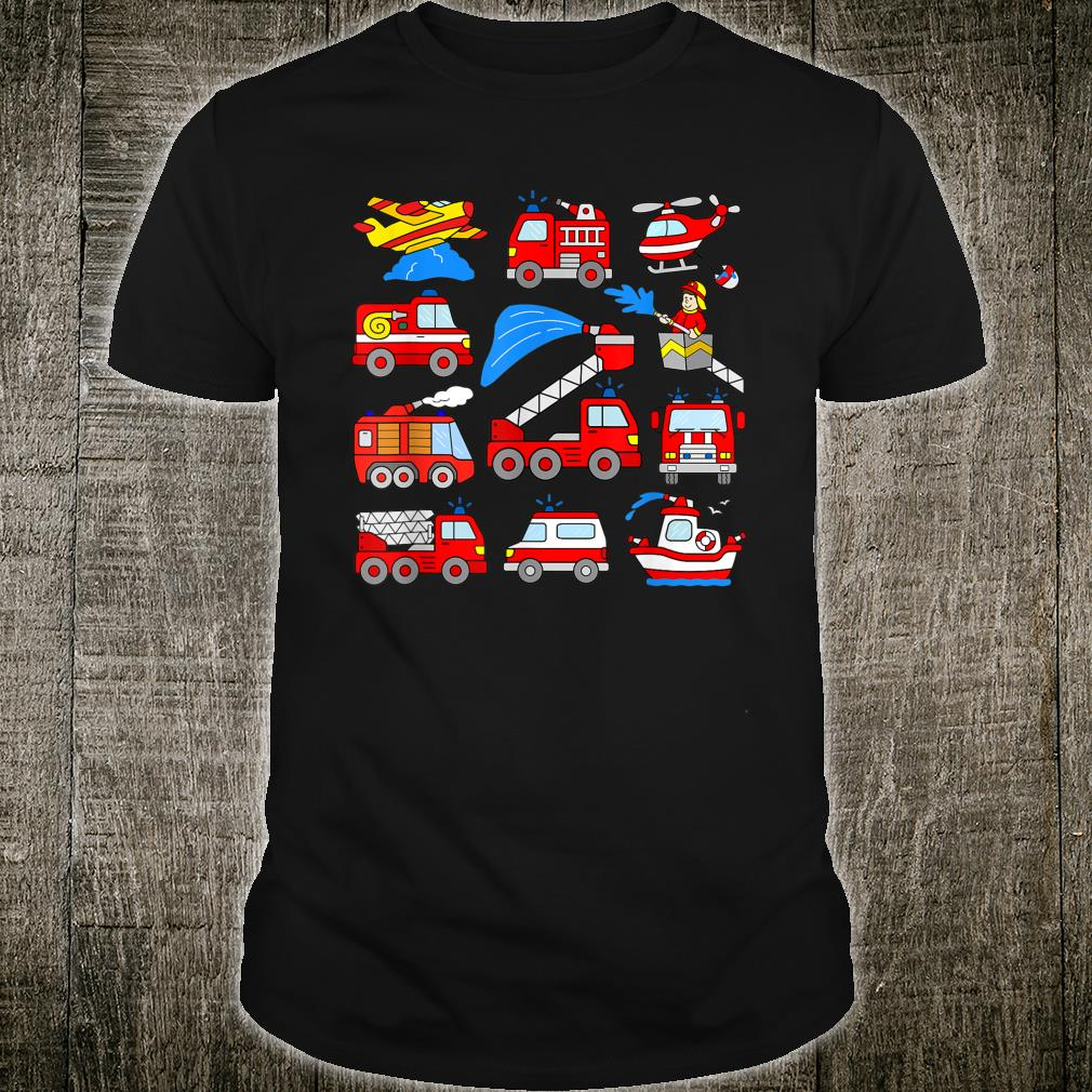Firetrucks Toddler Rescue Vehicles Fireman Trucks Boat Plane Shirt