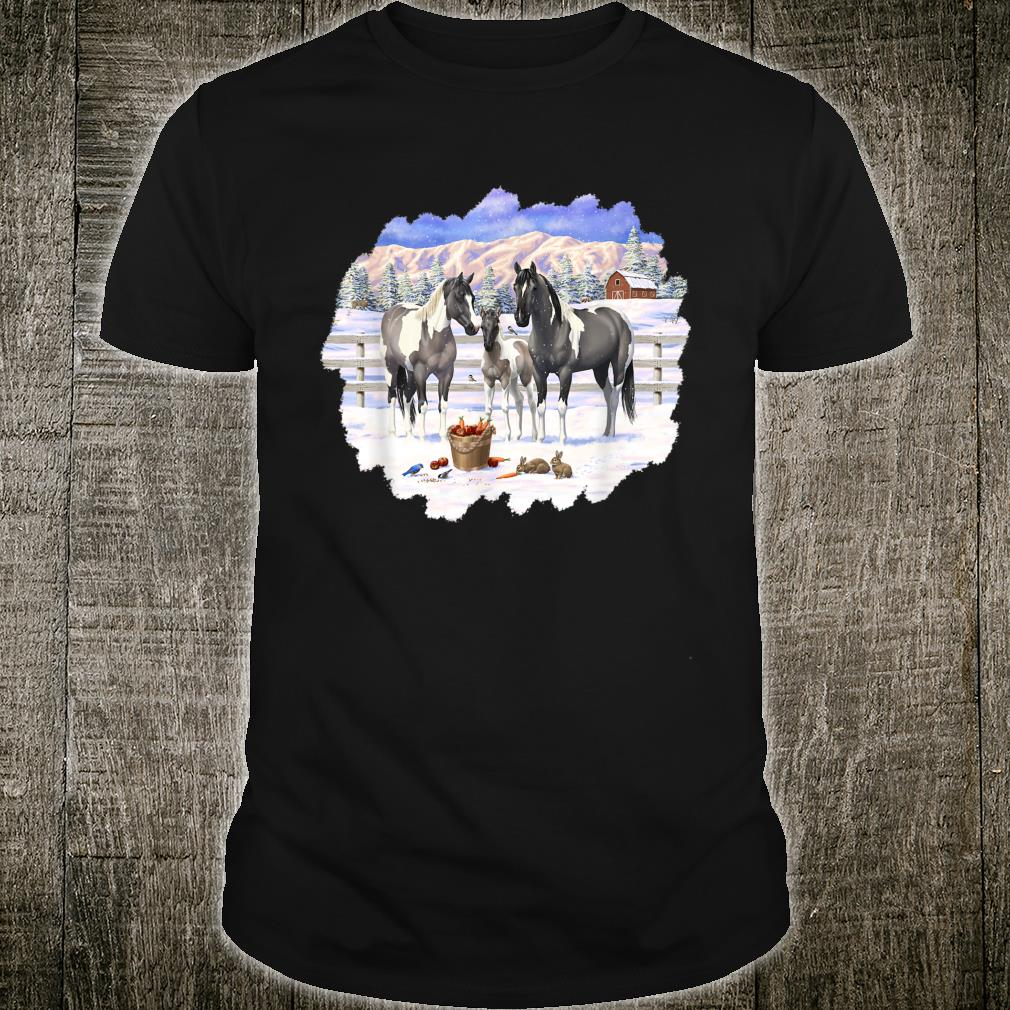 Gray Pinto Grulla Paint Horses In Snow Winter Scene Shirt