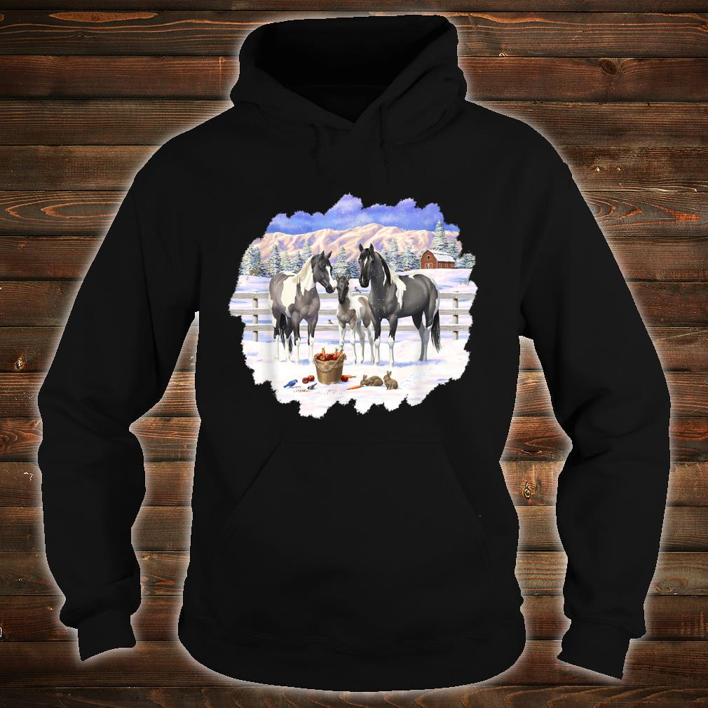 Gray Pinto Grulla Paint Horses In Snow Winter Scene Shirt hoodie