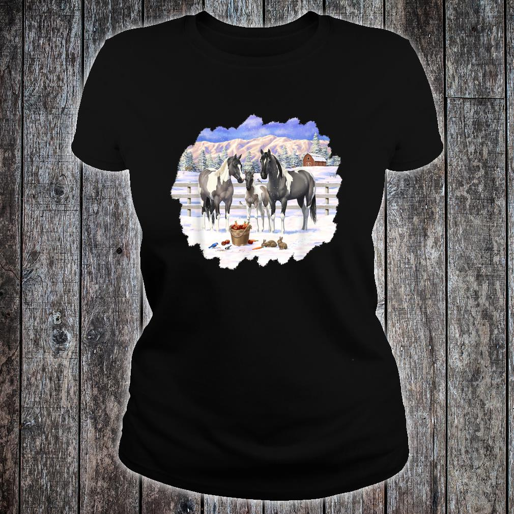 Gray Pinto Grulla Paint Horses In Snow Winter Scene Shirt ladies tee