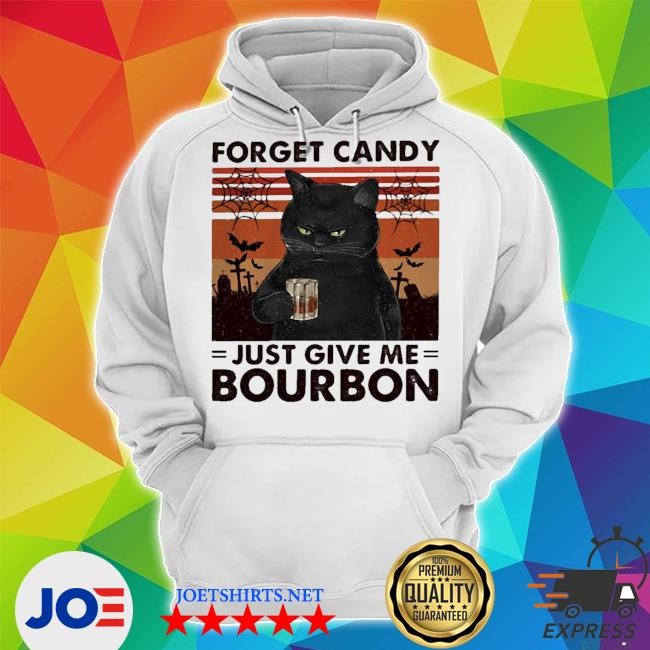 Black cat forget candy just give me bourbon vintage retro s Unisex Hoodie