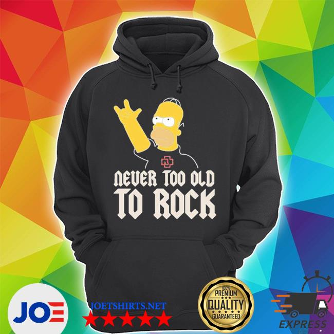 Homer simpson band rocking rammstein band never too old to rock s Unisex Hoodie