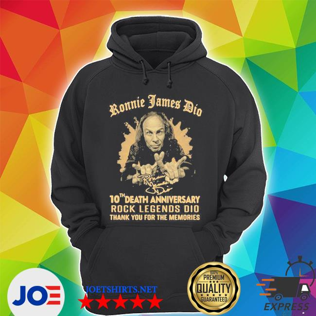 Ronnie james dio 10th death anniversary rock legends dio thank you for the memories signature s Unisex Hoodie