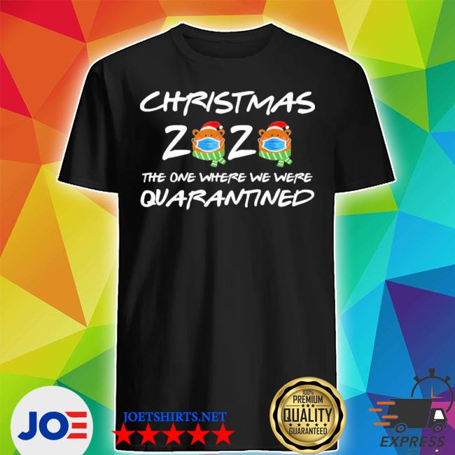 2020 christmas bear wearing face mask quarantined ugly christmas sweater