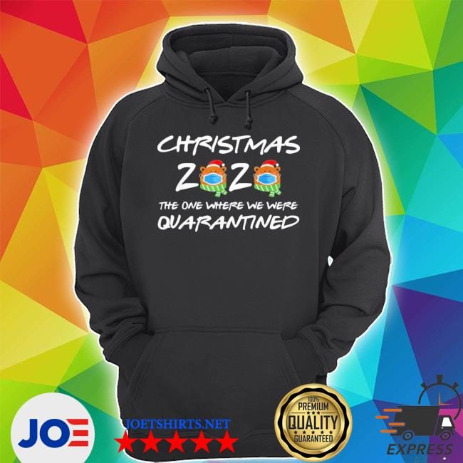 2020 christmas bear wearing face mask quarantined ugly christmas sweater Unisex Hoodie