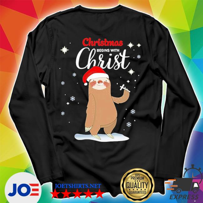 Official sloth christmas begins with christ ugly christmas s Unisex Long Sleeve Tee