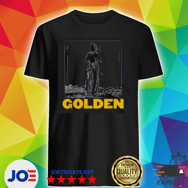 Official the man stand with golden 70s styles vintage shirt