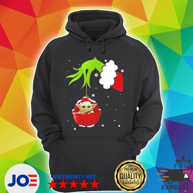 Official grinch hand holding santa baby yoda s Unisex Hoodie