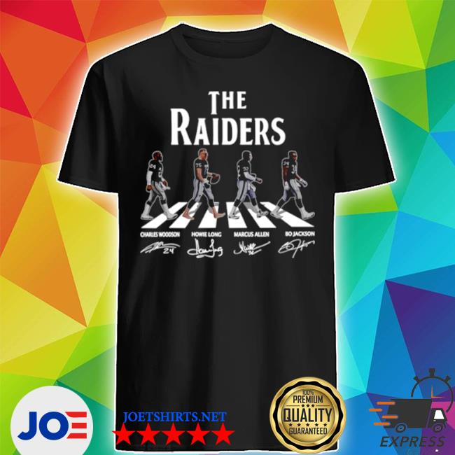 Official the raiders walks cross the street and signature shirt