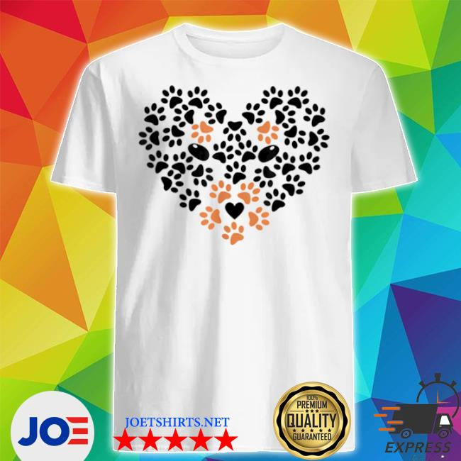 Heart shape paw print black and brown dog Valentines day shirt